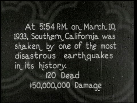 vídeos de stock, filmes e b-roll de the southern california earthquake - 1 of 16 - 1933