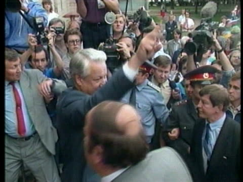 the soviet government struggles with democracy, as russian president boris yeltsin greets supporters and soviet president mikhail gorbachev presides... - boris yeltsin stock videos & royalty-free footage