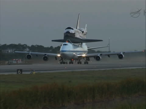 the space shuttle discovery begins take off from cape canaveral, florida atop a modified airplane on its way washington d.c. - space shuttle discovery stock videos & royalty-free footage