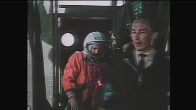 the spacecraft was launched from baikonur cosmodrome with soviet cosmonaut yuri gagarin aboard / he became the first human to cross into outer space... - history stock videos & royalty-free footage