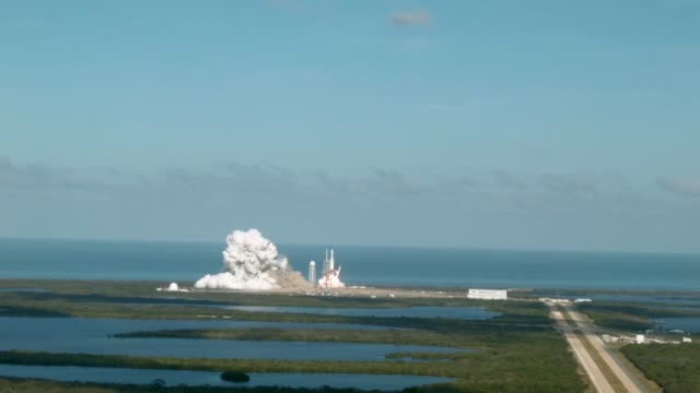 The SpaceX Falcon Heavy rocket lifts off from launch pad 39A at Kennedy Space Center on February 6 2018 in Cape Canaveral Florida The rocket is the...