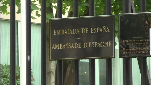 the spanish embassy staff in paris joined by spain's first ever black mp rita bosaho of the podemos party observed a minute of silence on friday in... - cambrils stock videos & royalty-free footage