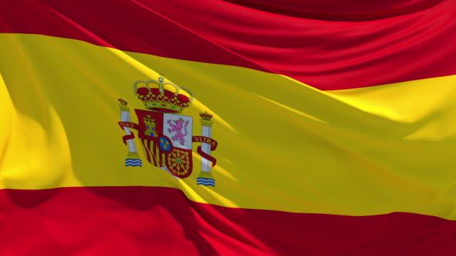 風にひらひらと舞うスペイン国旗 - スペイン国旗点の映像素材/bロール