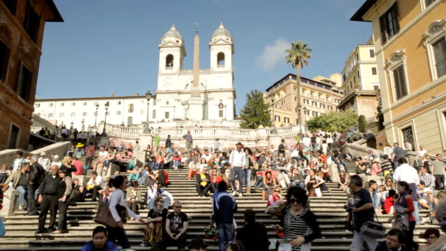 the spanish steps in rome, italy. - rome italy stock videos & royalty-free footage