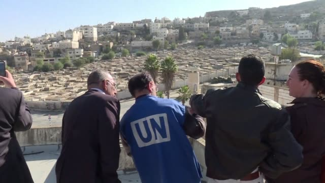 the special coordinator of the un for the middle-east peace process nickolay mladenov visited on monday the flashpoint city of hebron in the southern... - human settlement stock videos & royalty-free footage