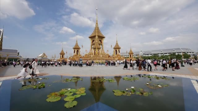 the spectacular crematorium of thailand's late king bhumibol opens to the public starting a month long public viewing period - king of thailand stock videos and b-roll footage