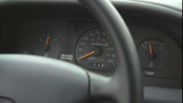 vídeos y material grabado en eventos de stock de the speedometer of a car is seen through the steering wheel. - velocimetro