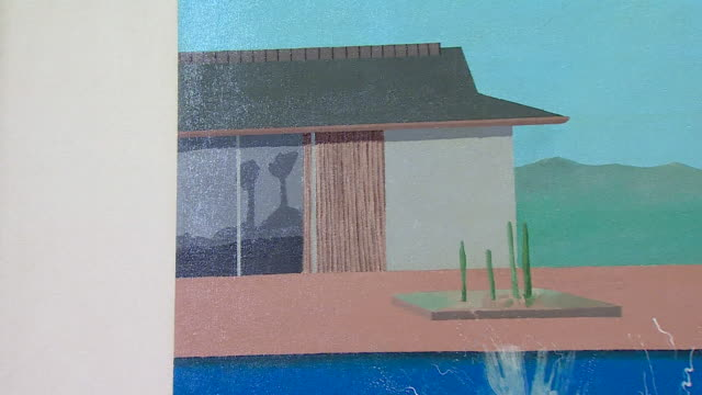 the splash, a painting by david hockney, that has just sold for 23 million pounds on display at sotheby's london auction house - modern art stock videos & royalty-free footage