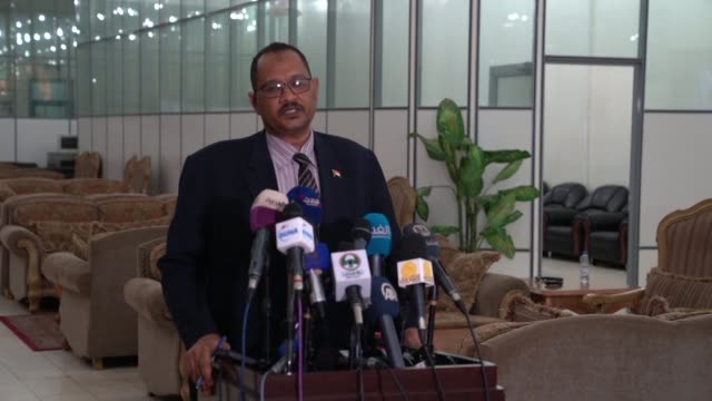 The spokesman for the Sudanese Foreign Ministry Hassan Ahmad comments during a press conference in Khartoum on the visit of Ethiopian Prime Minister...