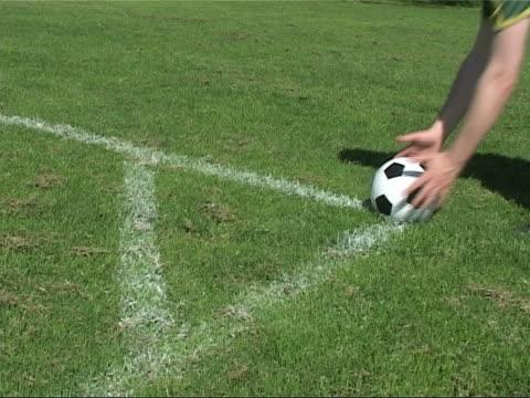 The spot on a soccer field to perform corner kicks