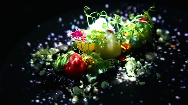 vidéos et rushes de the 'spur' dish is served in the main dining room of the tree by naked yoyogi park restaurant produced by naked inc on august 16 2018 in tokyo japan... - perception sensorielle