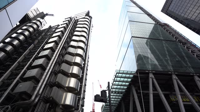 the square mile financial district with quiet streets around the lloyd's building in the city of london, u.k., on monday, jan. 6, 2021. britain's... - finance stock videos & royalty-free footage
