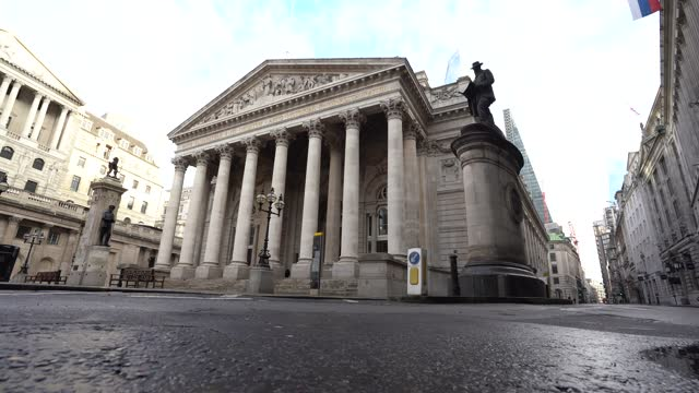 the square mile financial district with quiet streets around the royal exchange and the bank of england in the city of london, u.k., on monday, jan.... - urban road stock videos & royalty-free footage