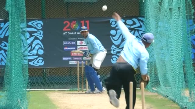 the sri lankan cricket team has been in training ahead of their cricket world cup semi-final against new zealand, which is due to take place on... - semifinal round stock videos & royalty-free footage