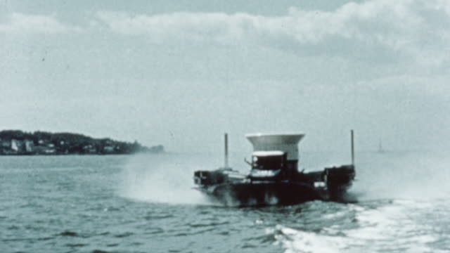 vídeos de stock e filmes b-roll de 1960 ts the sr.n1 hovercraft operating on the water / united kingdom - hovercraft