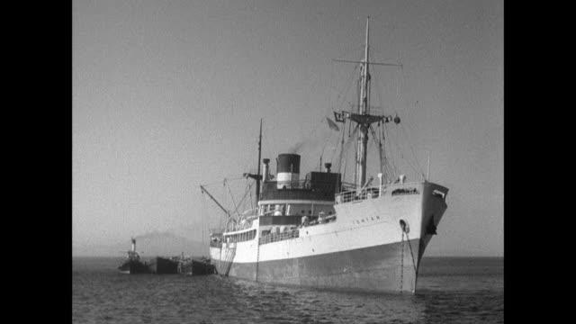 montage the ss ionian enters the mediterranean sea with its cargo / gibraltar - gibraltar bildbanksvideor och videomaterial från bakom kulisserna