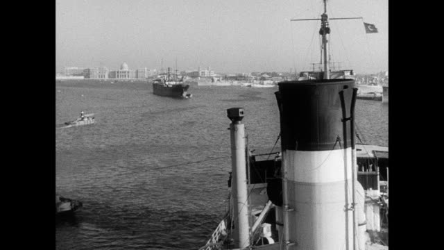 montage the ss ionian in the harbor at alexandria / alexandria, egypt - black and white stock videos & royalty-free footage
