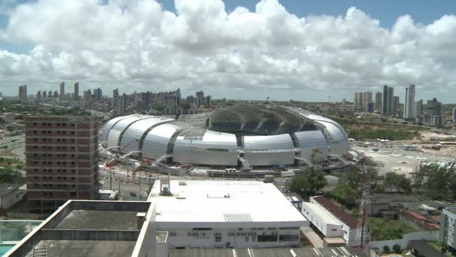 the stadium of natal in northeast of brazil one of the twelve of the 2014 world cup is ready now to 97% clean world cup 2014 natal stadium ready in... - internationaler fußball stock-videos und b-roll-filmmaterial