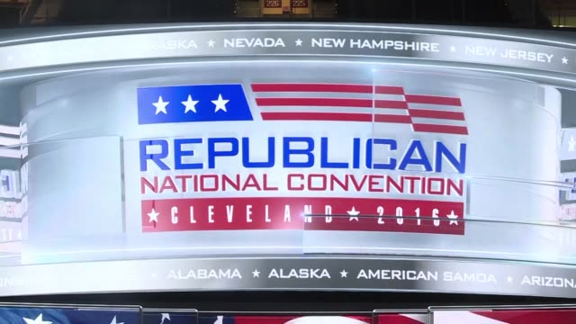 the stage on which donald trump is expected to receive the republican nomination for president awaits the opening of the republican national... - republican national convention stock videos & royalty-free footage