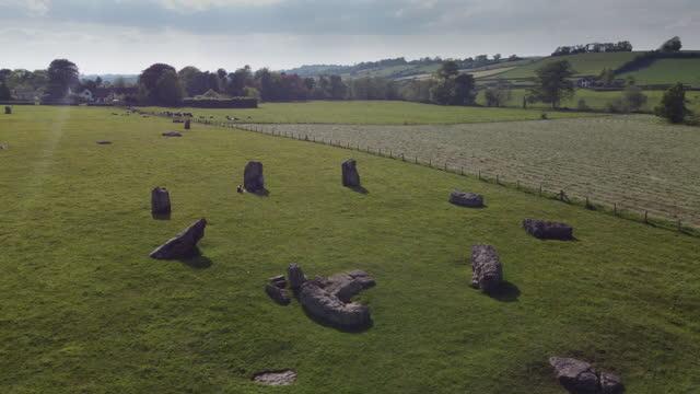 the stanton drew stone circle,  somerset, uk - obelisk stock videos & royalty-free footage