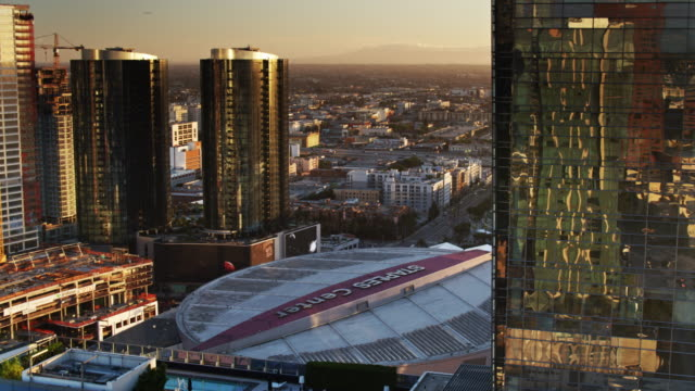 the staples center and los angeles convention center - staples center video stock e b–roll