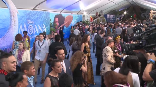 the stars of disney's new animated movie moana attended the premiere at the el capitan theatre in hollywood on monday evening - el capitan kino stock-videos und b-roll-filmmaterial