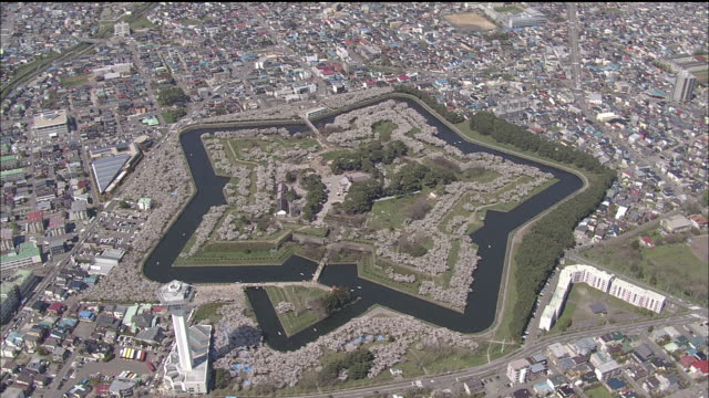 The starshaped Goryokaku Park historical site forms the center of Hakodate