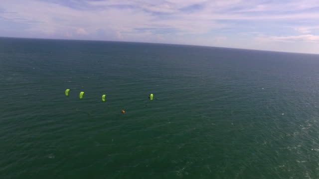 The start of a kite surf race