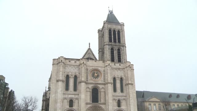 the start of the reconstruction of the spire of the basilica of saint denis is launched by culture minister françoise nyssen whose objective is for... - basilica video stock e b–roll