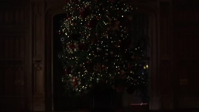 the state apartments in windsor are decorated with christmas trees, twinkling lights and a special display marking the 200th anniversary of the... - glittering stock videos & royalty-free footage