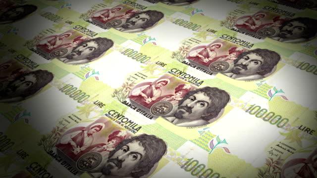 the state mint prints banknotes, italian lire - cultura italiana video stock e b–roll