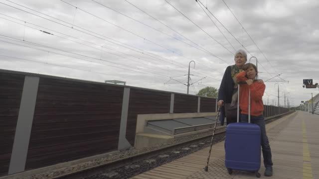 the station platform - stazione ferroviaria video stock e b–roll
