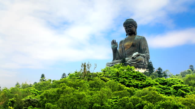 t/l ms la the statue of buddha on the mountain of ngong ping / hong kong, china - buddha stock-videos und b-roll-filmmaterial