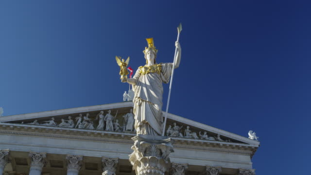 The Statue of Pallas Athena in Front of the Parliament Building