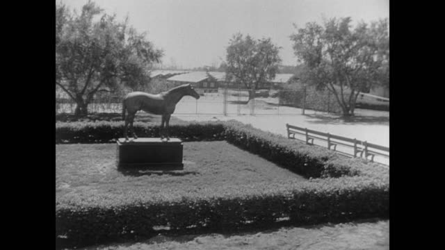 The statute of Seabiscuit at Santa Anita racetrack during its time as an internment assembly location for Japanese civilians in WWII