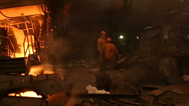 the steel manufacturing process at the zelezara smederevo doo. steel plant in smederevo, serbia, on wednesday, jan. 21, 2015 - plant process stock videos & royalty-free footage