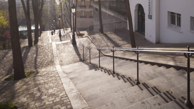 the steps in montmartre, paris. - steps and staircases stock videos & royalty-free footage