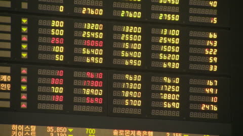 the stock price electronic display at the korea stock exchange - financial figures stock videos & royalty-free footage