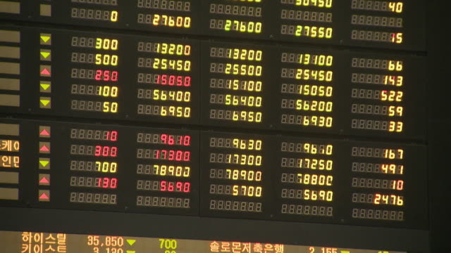 the stock price electronic display at the korea stock exchange - number stock videos & royalty-free footage