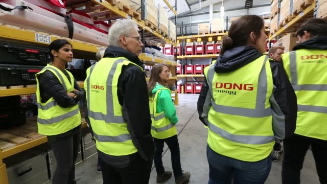 the store room at gunfleet sands offshore wind farm is owned and operated by orsted, formerly dong energy. it consists of 48 turbines off... - health and safety stock videos & royalty-free footage