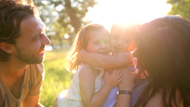 the story of a happy family - two generation family stock videos & royalty-free footage