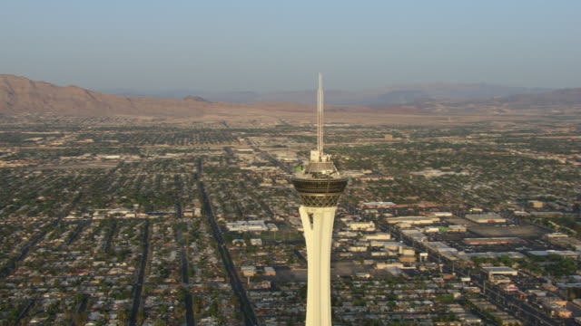 the stratosphere overlooks downtown las vegas. - clark county nevada stock videos & royalty-free footage