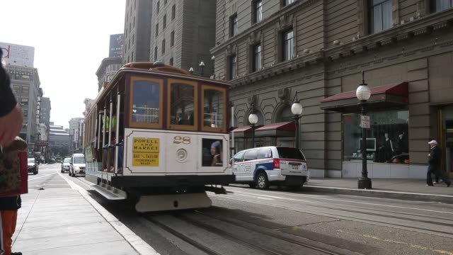 the streets and streetcars of san francisco, san francisco, ca. 02/04/13 the streets and streetcars of san francisco, san f on february 04, 2013 in... - tram stock videos & royalty-free footage