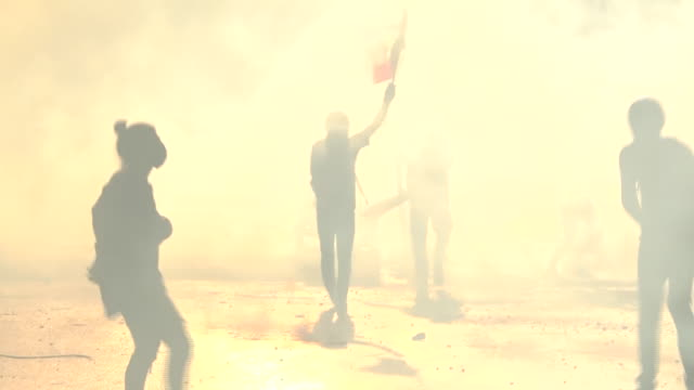 the streets of beirut were thick with tear gas earlier, as thousands of demonstrators demanded revenge after the explosion which killed more than 150... - bombing stock videos & royalty-free footage
