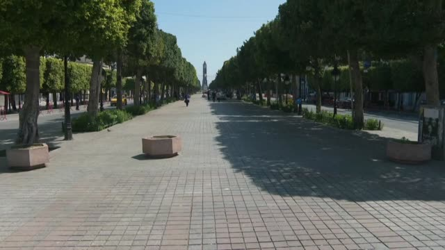 the streets of the capital tunis lie virtually empty after the authorities imposed a general lockdown until april 19 - tunis stock videos & royalty-free footage