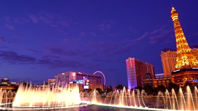 the strip and fountain - las vegas stock videos & royalty-free footage