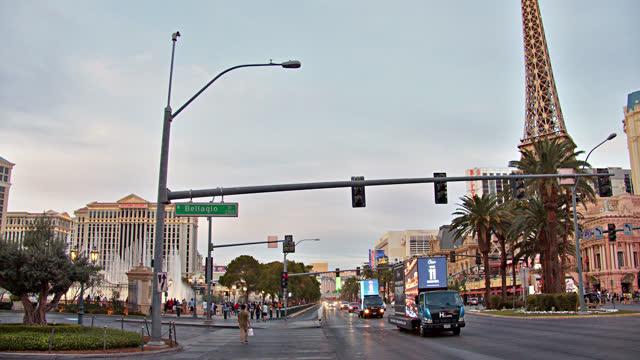 the strip. panoramic view of las vegas. - las vegas replica eiffel tower stock videos & royalty-free footage