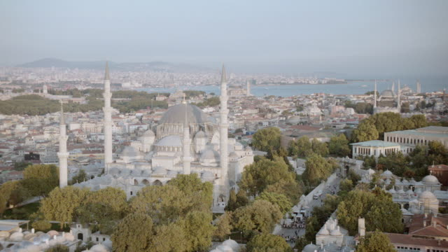 aerial the suleymaniye mosque on the third hill overlooking the bosphorus strait / istanbul, turkey - suleymaniye mosque stock videos and b-roll footage