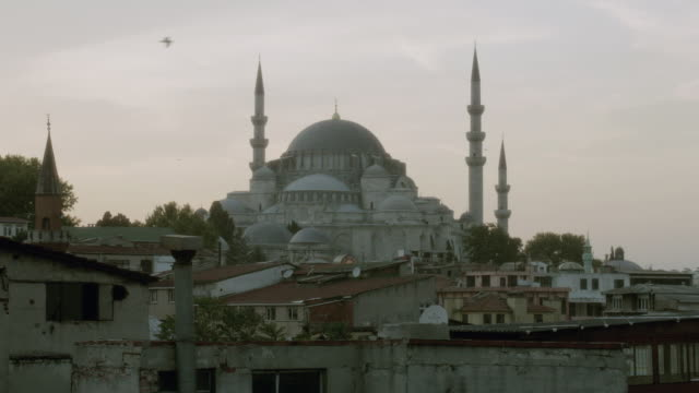 stockvideo's en b-roll-footage met ha the suleymaniye mosque standing on a hilltop over the golden horn / istanbul, turkey - torenspits
