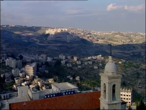 The sun casts shadows on the town of Bethlehem.